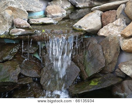 Manmade Rock Waterfall Fountain Pond Outdoors Moss