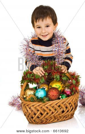 Boy And Basket With New Year's Toys