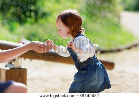 Little Cute Baby Girl Having Fun In Park, Summer