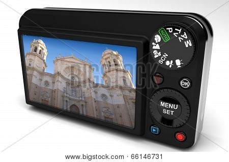 Cathedral of Cadiz from the display of a digital camera