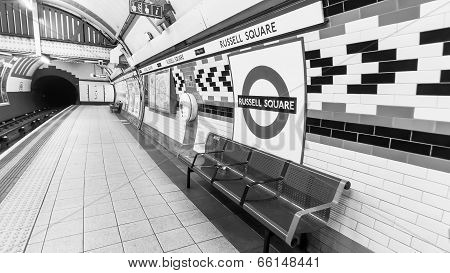 London Russel Square Tube Station -black and white