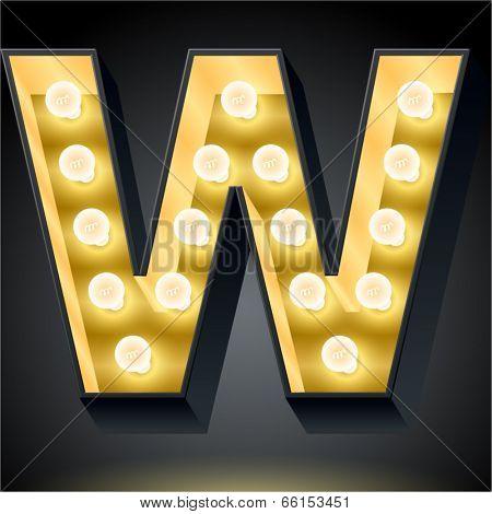 Realistic dark lamp alphabet for light board. Vector illustration of bulb lamp letter w