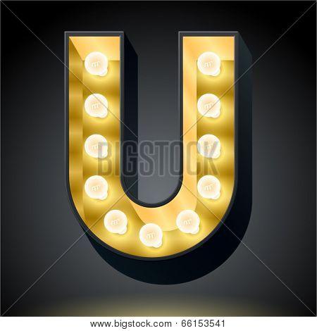Realistic dark lamp alphabet for light board. Vector illustration of bulb lamp letter u