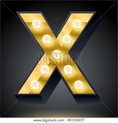 Realistic dark lamp alphabet for light board. Vector illustration of bulb lamp letter x