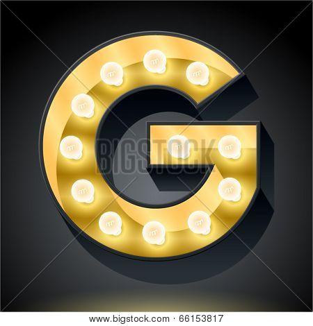 Realistic dark lamp alphabet for light board. Vector illustration of bulb lamp letter g