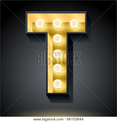 Realistic dark lamp alphabet for light board. Vector illustration of bulb lamp letter t
