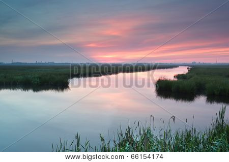 Purple Sunrise Over River