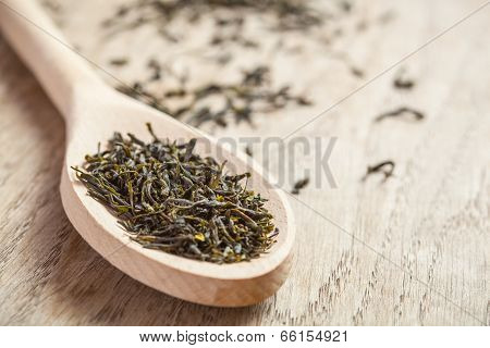 Spoon With Green Tea Herbs
