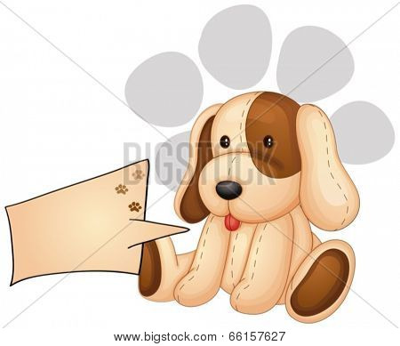 Illustration of a cute dog with an empty rectangular template on a white background
