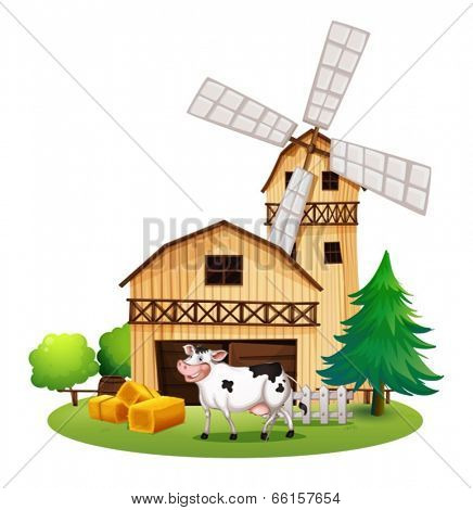 Illustration of a cow in front of the barn house on a white background
