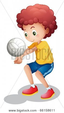 Illustration of a boy playing volleyball on a white background
