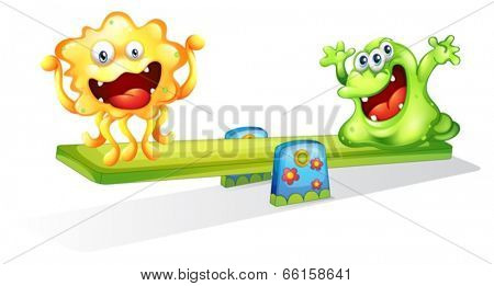Illustration of the monsters playing on a white background