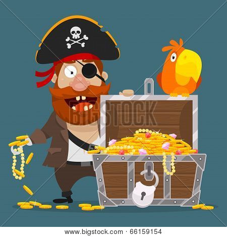 Character pirate chest of gold and parrot
