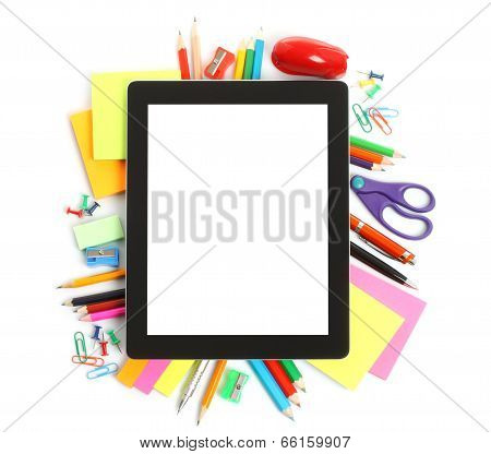 Tablet PC with school office supplies