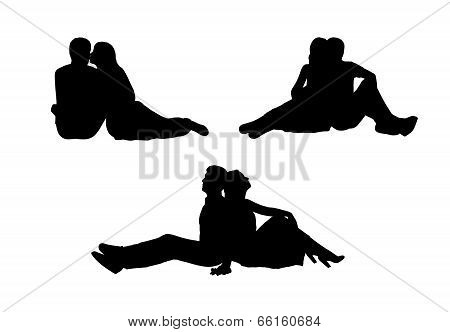 Couple In Love Silhouettes Set 3
