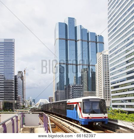 Bts Electric Railway Sky Train At Bangkok Thailand Sky Train Most Popular Mass Metropolitan Transpor