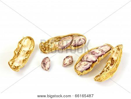 Boiled Peanuts On White Background