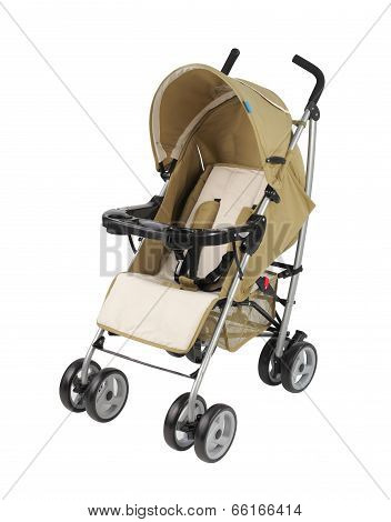 A Yellow Pram Isolated On White