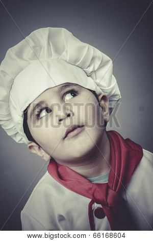 restaurant, child dress funny chef, cooking utensils