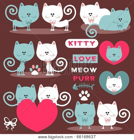 Cute Romantic Elements With Pretty Cats