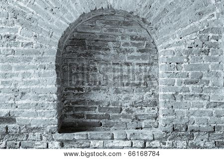 Old Brick Wall Gray Color With A Arch In Niche