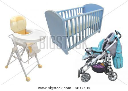 Child's Chair, Bed And Perambulator