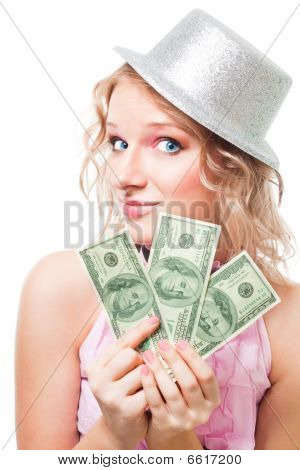 Magician Woman With Dollars