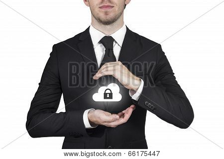 businessman protecting cloud