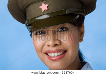 Woman In Service Cap