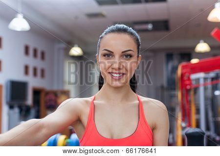 Sport woman exercising gym, fitness center