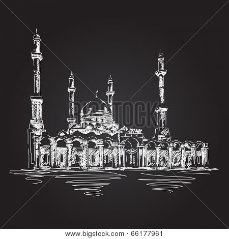 May 31, 2014: Muslim mosque Nur Astana in Kazakhstan. Hand drawn sketch. Vector illustration.