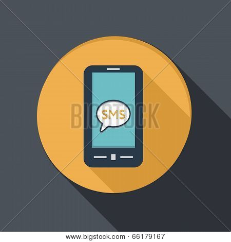 Smartphone With Cloud Of Sms Dialogue