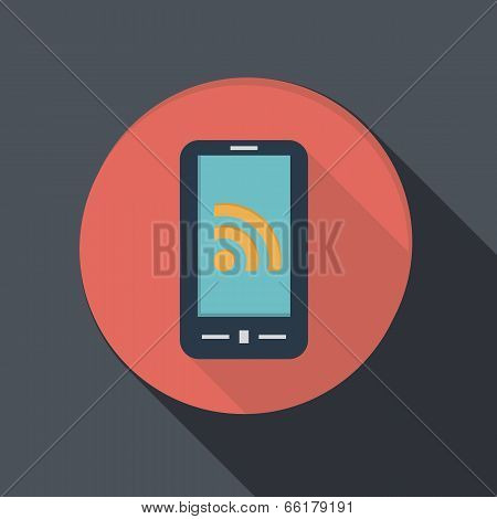Paper Flat Icon, Smartphone With The Symbol Rss