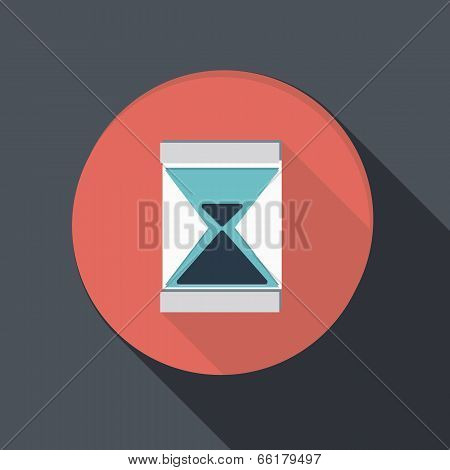 Paper Flat Icon With A Shadow. Hourglass Waiting