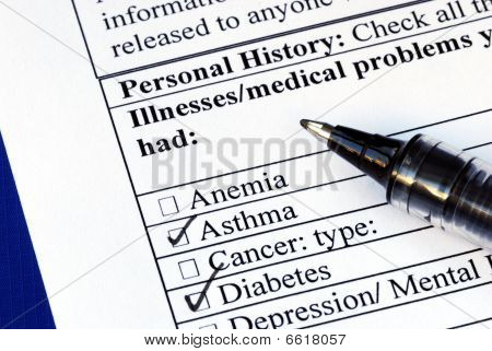 Patient selects the illness in the medical history section