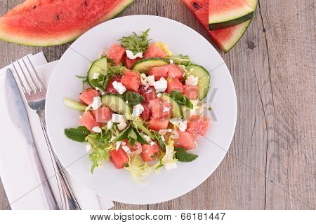 watermelon,feta cheese and cucumber