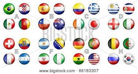 All FIFA soccer groups team flags on the soccer balls