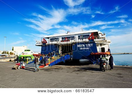Heraklion, Greece - May 17: The Speed Ferry Going To Santorini Island On May 17, 2014 In Heraklion,