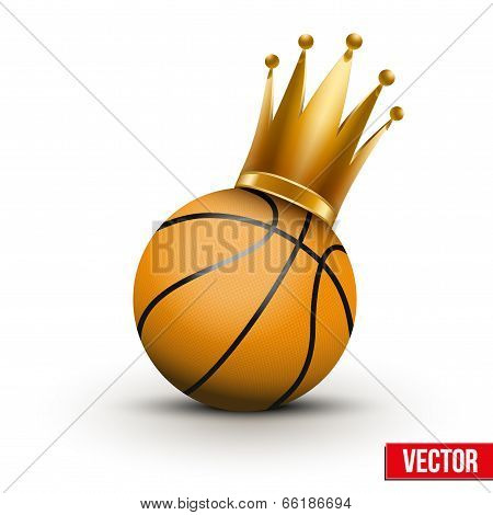 Basketball ball with royal crown of princess