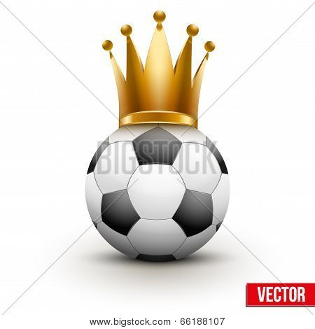 Soccer ball with royal crown of queen