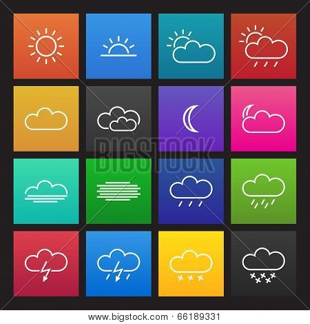 Colored simple weather icons