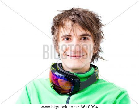Young Active Skier With Mask
