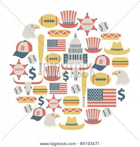 round design element with USA icons