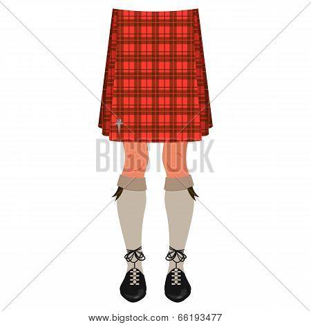 Male Legs In Kilt Isolated On White, Scottish National Costume