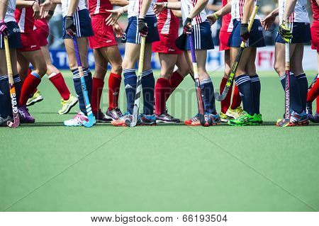 THE HAGUE, NETHERLANDS - JUNE 1: Team USA and Team England shaking hands after the matc during the Hockey World Cup 2014 in the match between USA and England (women) USA beats ENG 2-1