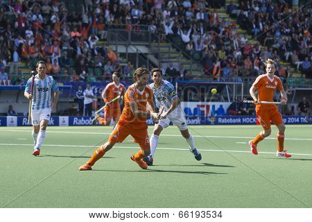 THE HAGUE, NETHERLANDS - JUNE 1: Dutch player Hofman raises his stick to get the ball during the Hockey World Cup 2014 in the match between The Netherlands and Argentina (men). NED beats ARG 3-0