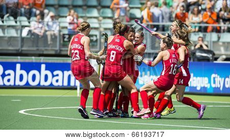 THE HAGUE, NETHERLANDS - JUNE 1: Team USA celebrating a goal during the Hockey World Cup 2014 in the match between USA and England (women) USA beats ENG 2-1