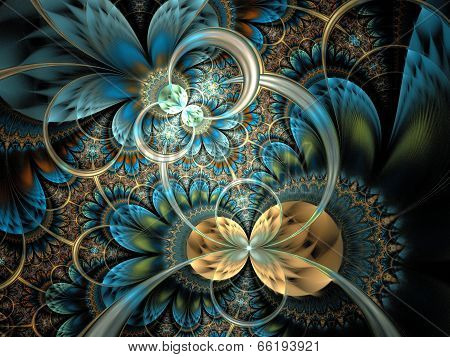 Symmetrical Dark Orange Blue  Fractal Flower
