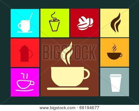 Selection of symbols or icons for coffee and coffee shops isolated on coloured flat  buttons