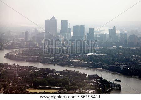 Misty River Thames cityscape